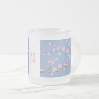 Cherry Blossom - Serenity Blue Frosted Glass Coffee Mug