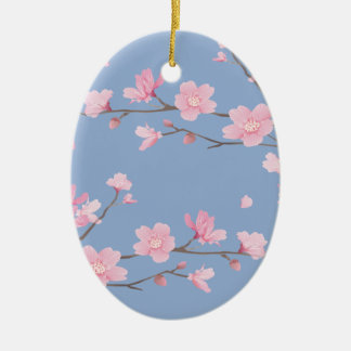 Cherry Blossom - Serenity Blue - HAPPY BIRTHDAY Christmas Ornament