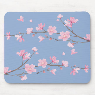Cherry Blossom - Serenity Blue Mouse Mat