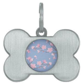 Cherry Blossom - Serenity Blue Pet Name Tag