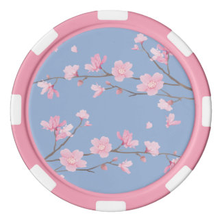 Cherry Blossom - Serenity Blue Poker Chips