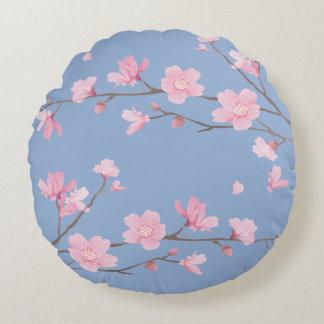 Cherry Blossom - Serenity Blue Round Cushion