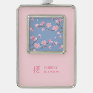 Cherry Blossom - Serenity Blue Silver Plated Framed Ornament