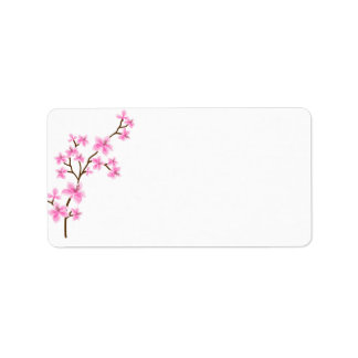 Cherry Blossom shipping address label