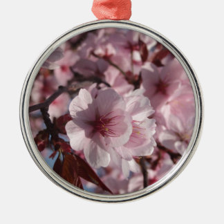 Cherry Blossom Silver-Colored Round Decoration