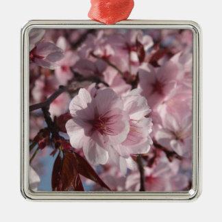 Cherry Blossom Silver-Colored Square Decoration