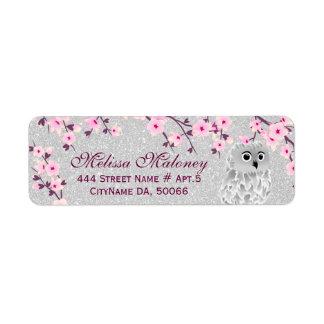 Cherry Blossom Silver Glitter Owl