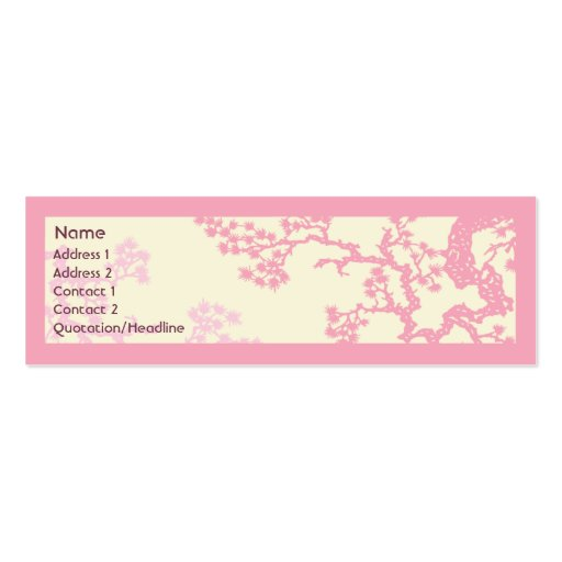 Cherry Blossom - Skinny Double-Sided Mini Business Cards (Pack Of 20)