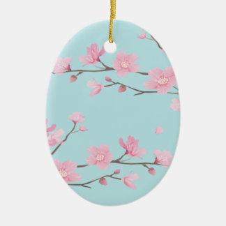 Cherry Blossom - Sky Blue Christmas Ornament
