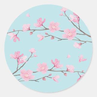 Cherry Blossom - Sky Blue Classic Round Sticker