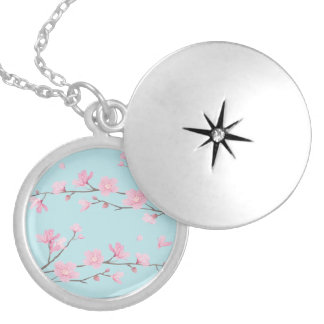 Cherry Blossom - Sky Blue Locket Necklace