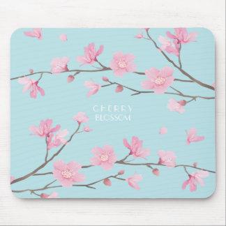 Cherry Blossom - Sky Blue Mouse Mat