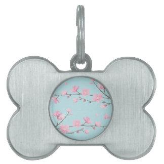 Cherry Blossom - Sky Blue Pet Name Tags