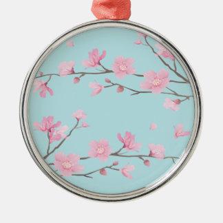 Cherry Blossom - Sky Blue Silver-Colored Round Decoration