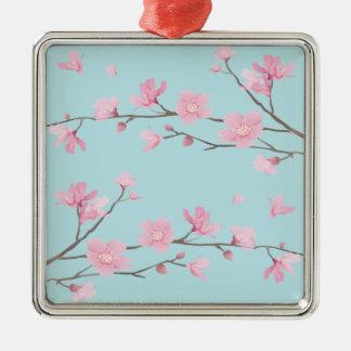 Cherry Blossom - Sky Blue Silver-Colored Square Decoration