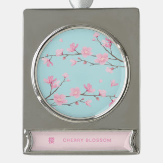 Cherry Blossom - Sky Blue Silver Plated Banner Ornament