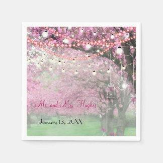Cherry blossom spring themed wedding paper napkin