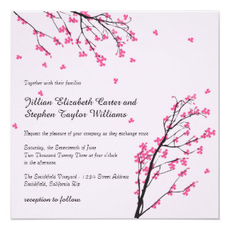 Cherry Blossom Stem - Square Wedding Invitation