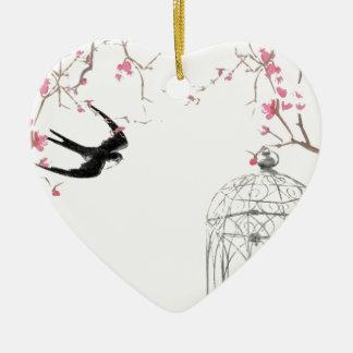 Cherry blossom, swallow, birdcage design christmas ornament