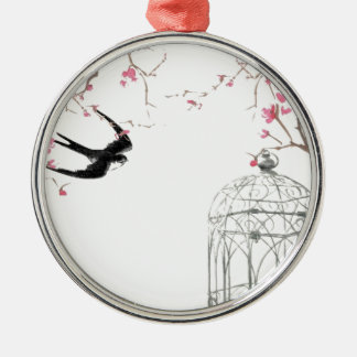 Cherry blossom, swallow, birdcage design christmas ornament