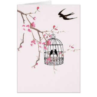 Cherry blossom, swallow, birdcage - stunning card