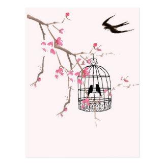 Cherry blossom, swallow - wedding, invite, unique postcard