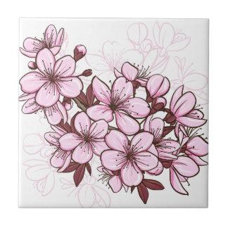 Cherry blossom small square tile