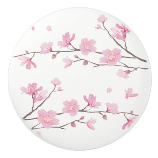 Cherry Blossom - Transparent Background Ceramic Knob
