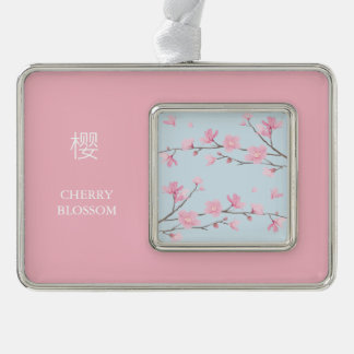 Cherry Blossom - Transparent Background Silver Plated Framed Ornament