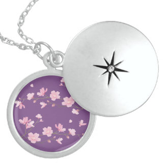 Cherry Blossom - Transparent-Background Sterling Silver Necklace