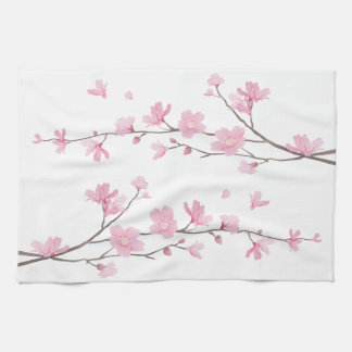 Cherry Blossom - Transparent Background Tea Towel