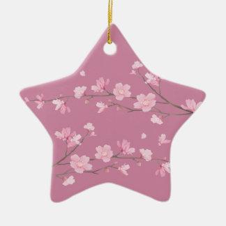Cherry Blossom - Transparent - HAPPY BIRTHDAY Ceramic Star Decoration