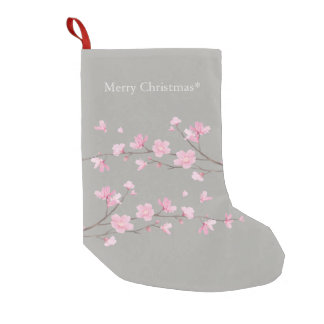 Cherry Blossom - Transparent - Merry Christmas Small Christmas Stocking
