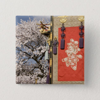 Cherry blossom tree and silk tapestry of 15 cm square badge