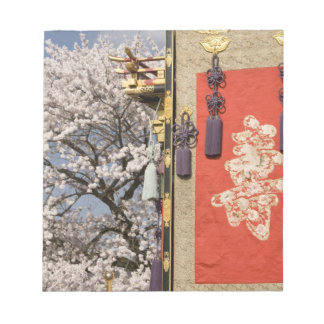 Cherry blossom tree and silk tapestry of notepad