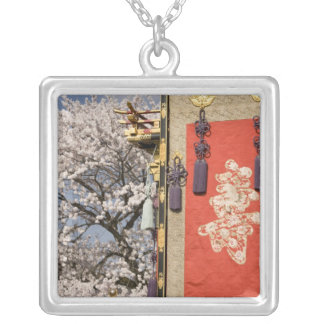 Cherry blossom tree and silk tapestry of silver plated necklace