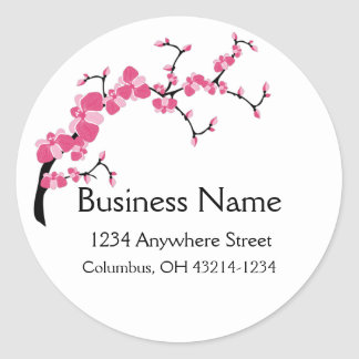 Cherry Blossom Tree Branch Round Address Labels Round Sticker