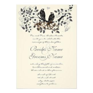 Cherry Blossom Vintage Birds Weddings Announcements