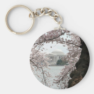 Cherry Blossom Washington DC Basic Round Button Key Ring