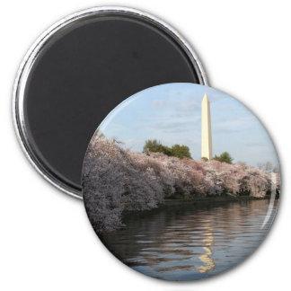 Cherry Blossom Washington monument 6 Cm Round Magnet