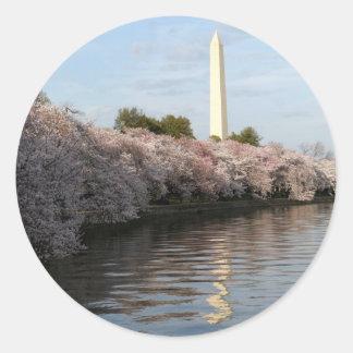 Cherry Blossom Washington monument Classic Round Sticker