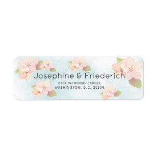 Cherry Blossom Watercolor Wedding Address Label