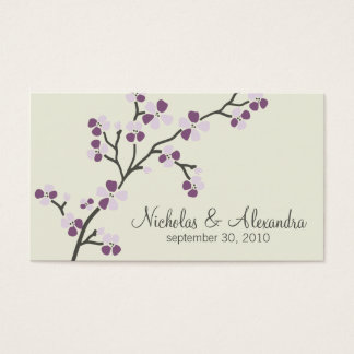 Cherry Blossom Wedding Business Card (plum)