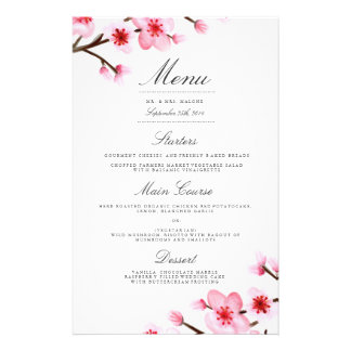 Cherry Blossom Wedding Dinner Menu 14 Cm X 21.5 Cm Flyer