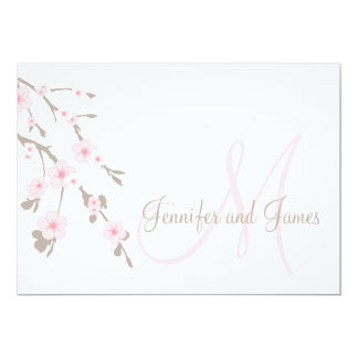 "Cherry Blossom Wedding Invitation Landscape 5"" X 7"" Invitation Card"