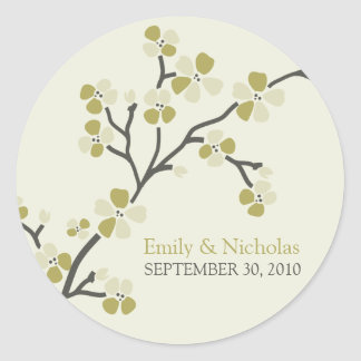 Cherry Blossom Wedding Invitation Seal 2 (olive) Round Sticker