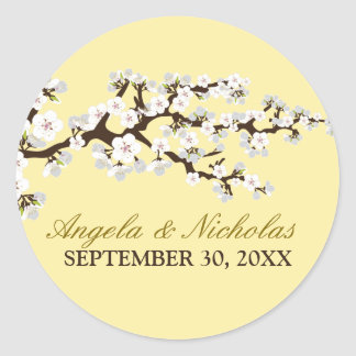 Cherry Blossom Wedding Invitation Seal (lemon) Round Sticker