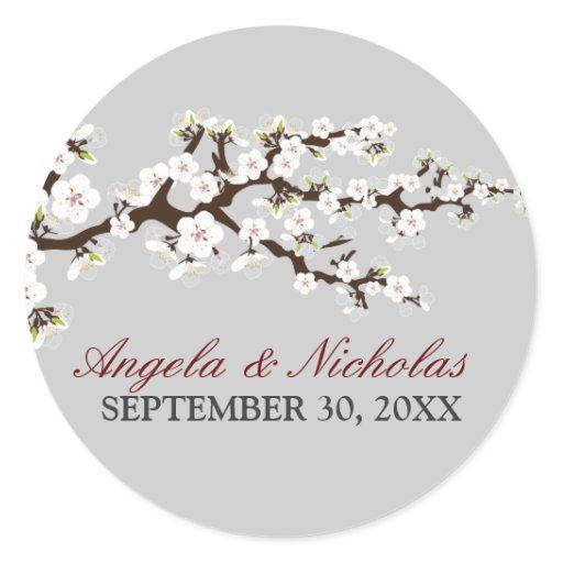 Cherry Blossom Wedding Invitation Seal Silver Round Sticker