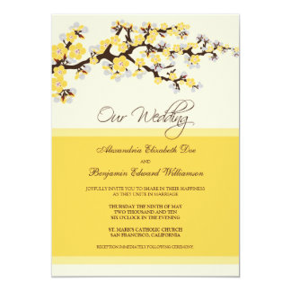 Cherry Blossom Wedding Invitation (yellow)