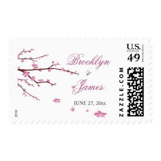 Cherry Blossom Wedding Postage Stamps